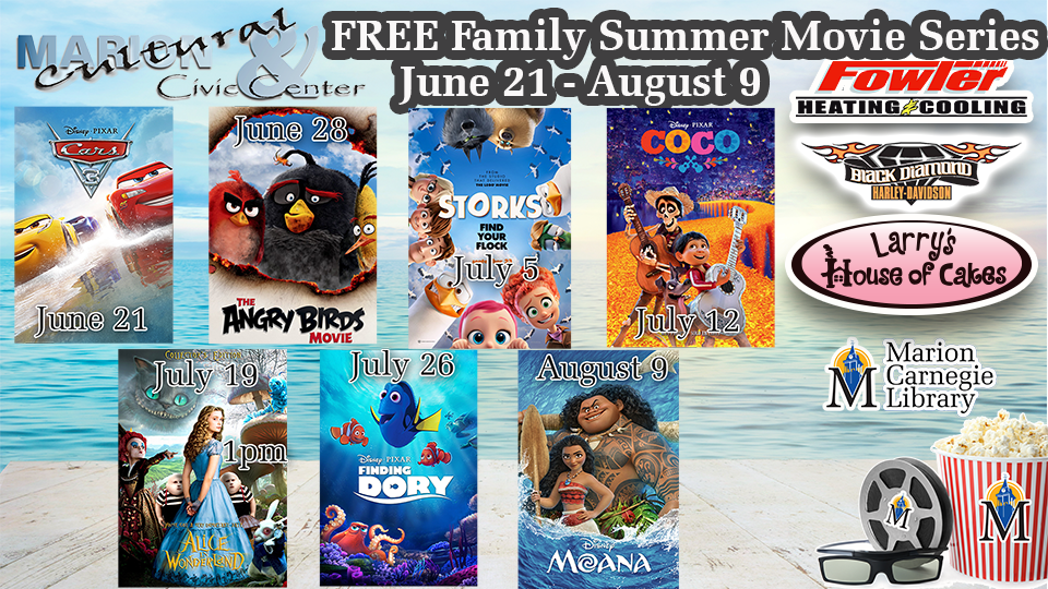 FREE Family Summer Movie Series - June 21 - August 9